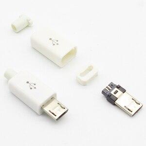 5-контактный разъем Micro USB, 10 шт., сварочный тип, штекер, разъемы, зарядное устройство, 5P, USB-разъем для зарядки, 4 в 1, белый, черный