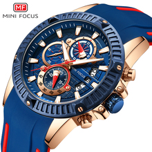 MINIFOCUS Fashion Luxury Watch Men Sports Chronograph Watches Waterproof Quartz Men Military Wristwatch Silicone Clock For Male цена и фото