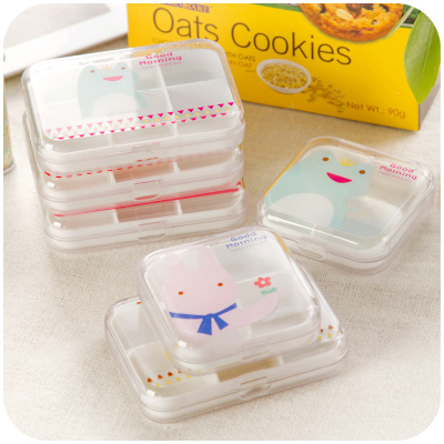 500pcslot Cute Square Mini Plastic Pill Box Cartoon Container Kids