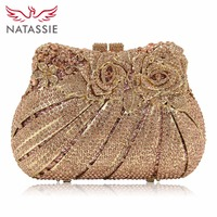 March 2016 New Women Rose Flower Crystal Clutch Handbag For Wedding Party Lady Evening Bag Gold