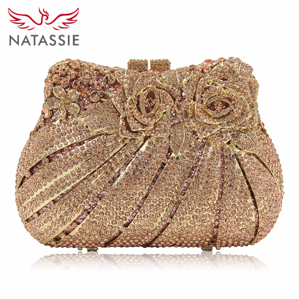 NATASSIE Women Crystal Clutch Bag Rose Evening Bags Flower Party Purse Wedding Female Clutches luxury crystal clutch handbag women evening bag wedding party purses banquet