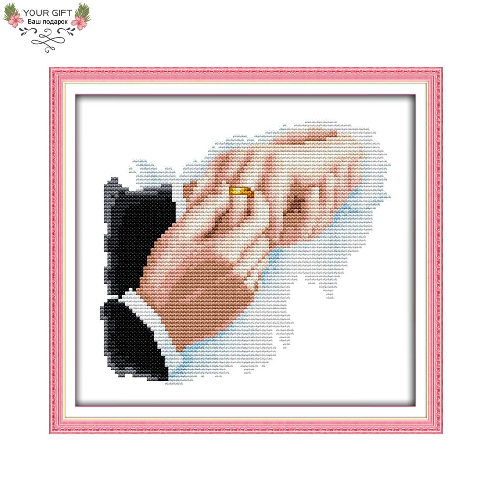 Joy Sunday R692 Free Shipping 14CT 11CT Counted and Stamped Home Decoration Hold Hands Needlework Embroidery Cross Stitch kits