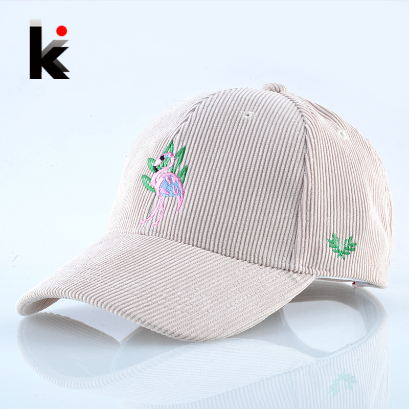 2018 Spring Corduroy Baseball Cap Women Flamingo Embroidery Snapback Hip Hop Hats For Men Adjustable Solid Casual Bone Casquette