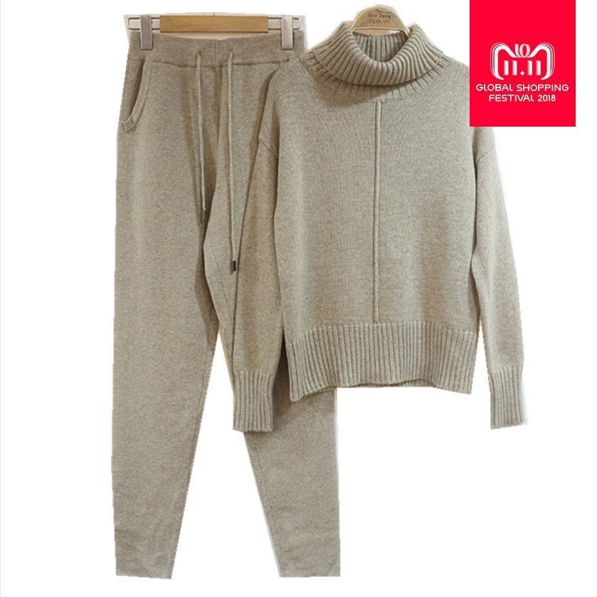 30% Lana e 45% Cashmere Modello di Maglia del Vestito caldo Collo alto Del Maglione + Visone Cashmere Pantaloni Per Il Tempo Libero A due pezzi set di wj1276