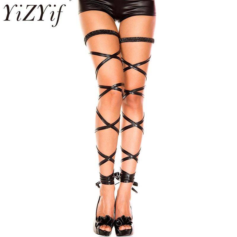 YiZYiF 1 Pair Women Shiny Leather Elastic Leg Wrap Strap Harness Costumes Party Stockings For Sexy Lady Halloween Leg Decoration