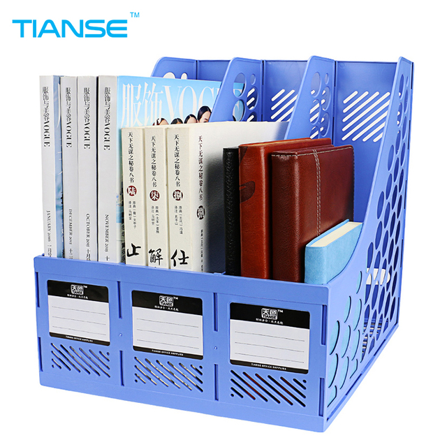TIANSE file holder document trays plastic organizer for magazine book  desk storage office stationery