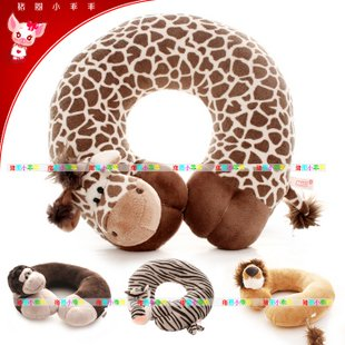 Candice guo plush toy stuffed doll NICI jungle animal giraffe tiger lion monkey U pillow cushion cartoon neck car birthday gift 230cm super big king of forest simulation large tiger stuffed plush toy doll model sofa car animal cushion hold pillow kids gift