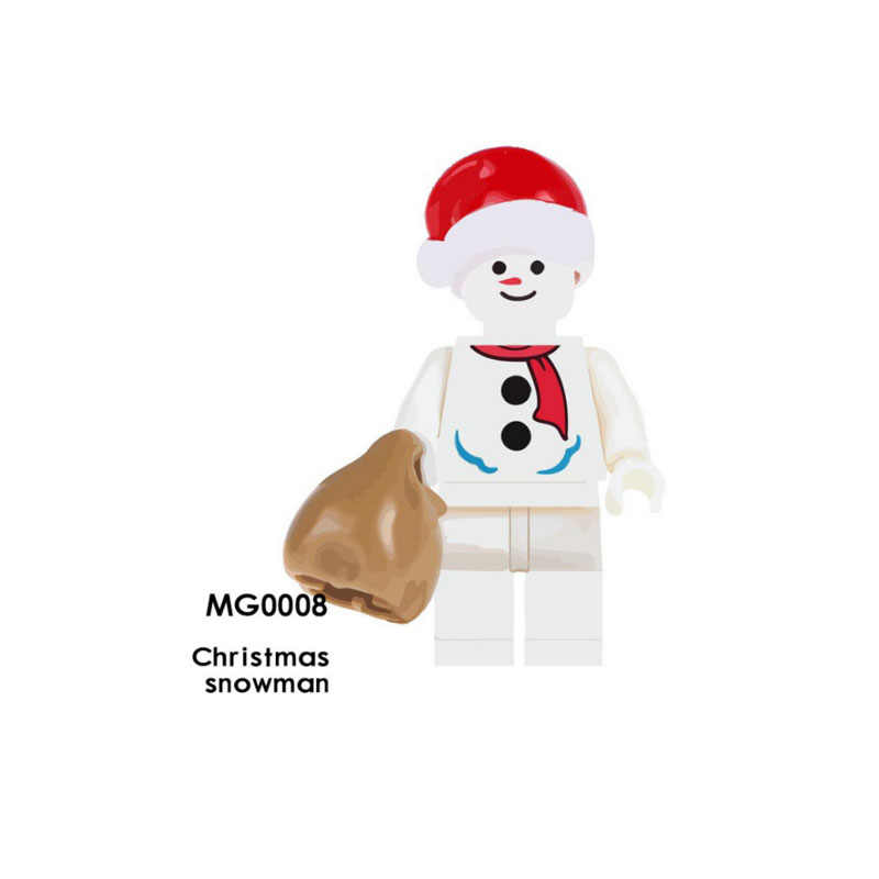 Single Sale Super Heroes Star Wars MG0008 Christmas snowman Mini Building Blocks Figure Brick Toy gift Compatible Legoed Ninjaed