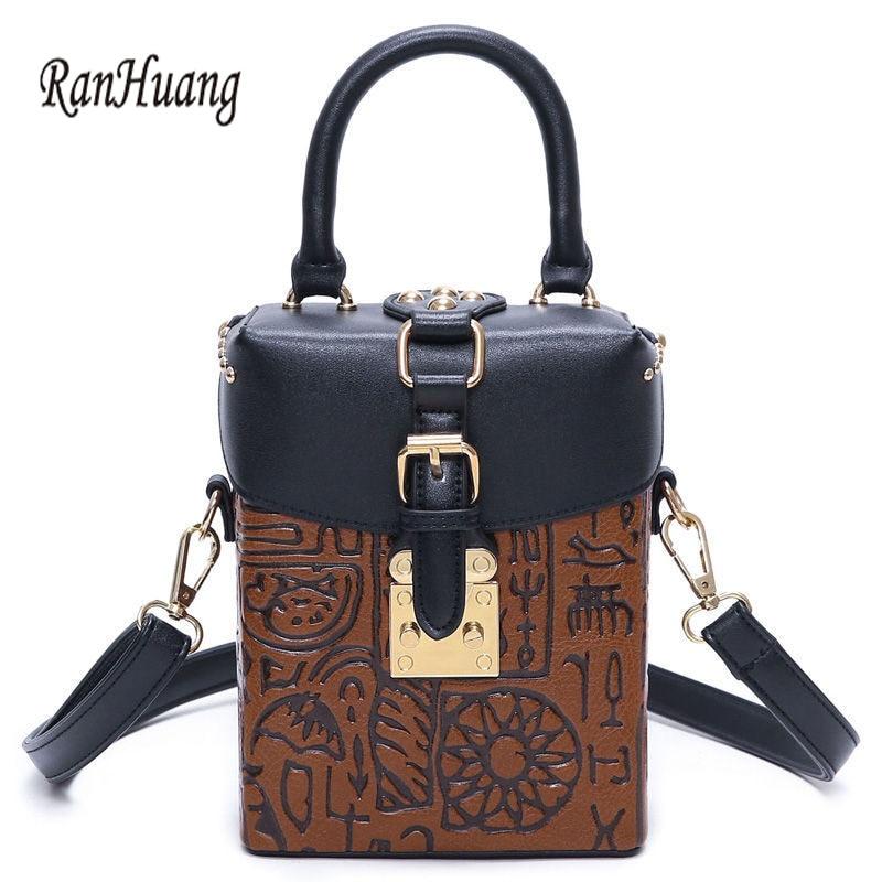 ФОТО RanHuang New Arrive 2017 Hot Sale Women Oracle Print Vintage Handbags PU Leather Mini Shoulder Bags Women's Designer Handbags