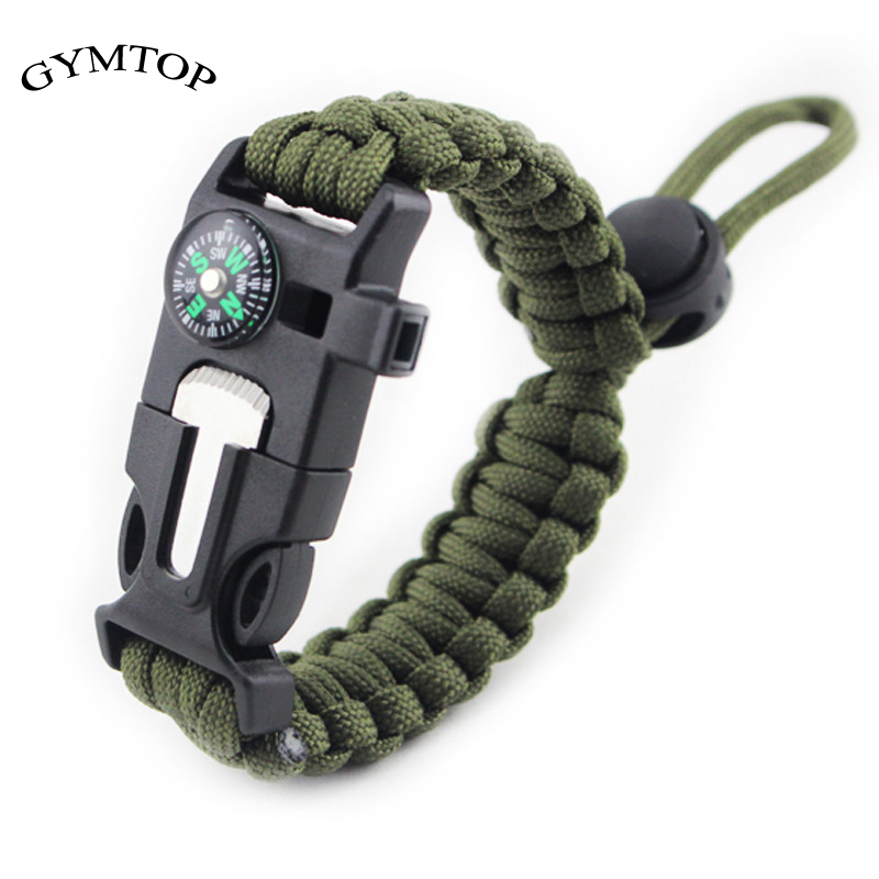 GYMTOP 4 In 1 Tactical Survival Gear Starter Whistle Compass Scraper Knife Wilderness Survival Tool For Camping Fishing No Flint