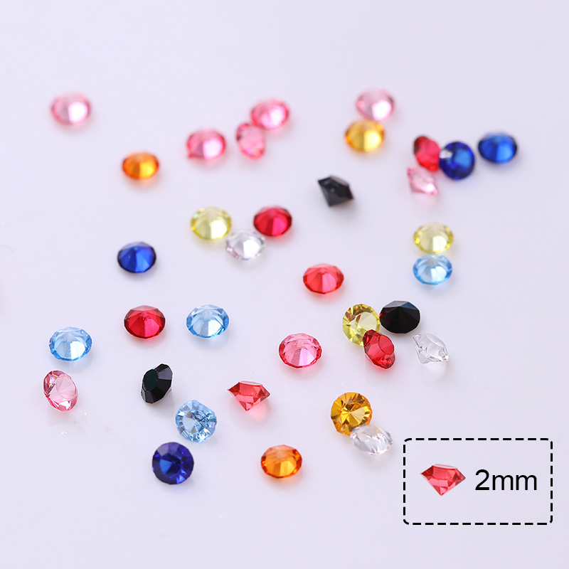 12 Colors 2mm Sharp Back Rhinestone Resin 3D Nail Decoration in Wheel Manicure Nail Decor