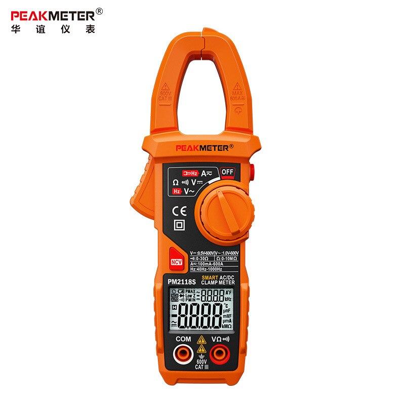 PEAKMETER PM2118S Smart AC DC Clamp Meter Digital multimeter 6000 Counts 600V Voltmeter Ammeter Ohmmeter NCV Frequency Tester cem dt 360 ac clamp meter cem everbest ac ac digital clamp meter 600v ammeter