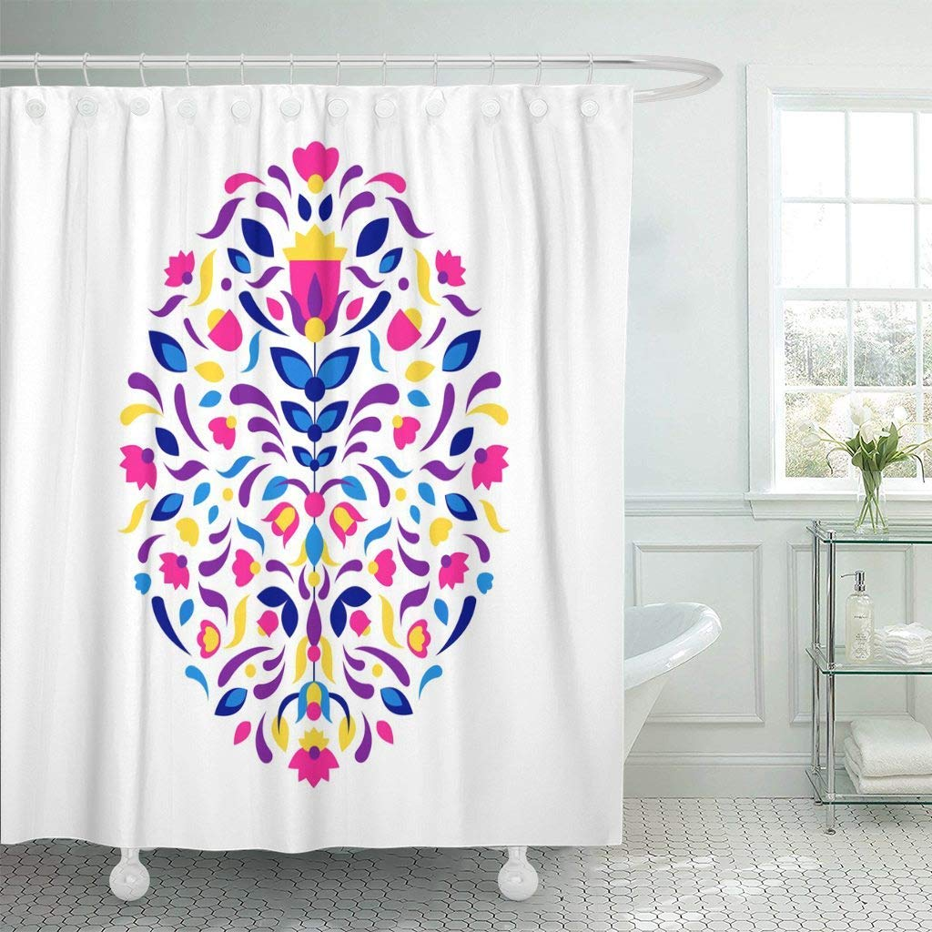 Us 17 06 36 Off Fabric Shower Curtain Hooks Pink Mexico Mexican African Tribal Aztec Ethnic Geometric Eastern Vintage Abstract In Shower Curtains