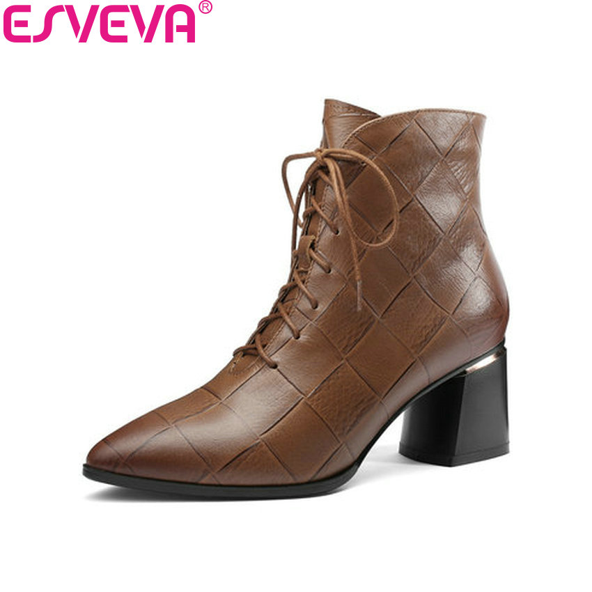 ESVEVA 2019 Women Boots Zip Ankle Boots Shoes Square High Heels pointed Toe Cow Embossed Leather PU Chelsea Boots Size 34-42 esveva 2018 cow leather pu women boots autumn shoes ankle boots square high heels ladies motorcycle boots black size 34 39
