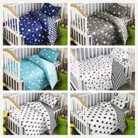 3Pcs Toddler Bedding Set Cotton Crib Sets Black White Stripe Cross Pattern Baby Cot Set Cheap Star Bedding Set for Toddler