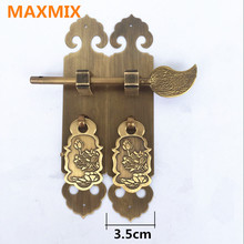 MAXMIX pure copper handle Classical furniture accessories cupboard bookcase Wine cabinet Antique straight handle  cabinet knobs