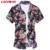 LONMMY 6XL Plus size 24 homens flor de Seda Cor de algodão Dos Homens floral camisa Dos Homens vestido de camisas de manga Curta slim fit Camisa 2016 verão