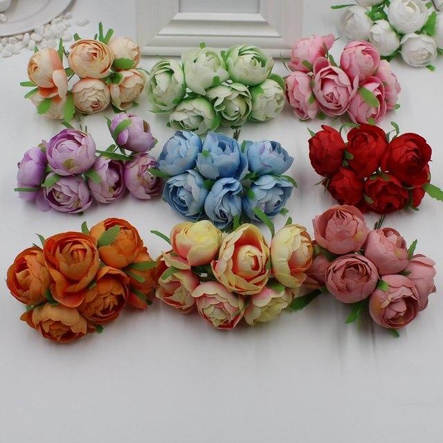 6 pcs Mini Teh Bud Sutra Buatan Bunga Mawar Buket Untuk Tanaman DIY  Karangan Bunga Karangan 5bb5050ed6