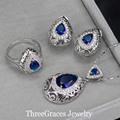 2017 Noble Design 925 Sterling Silver Jewelry CZ Synthetic Diamond Royal Blue Clear Crystal Necklace Pendant Set For Women JS195
