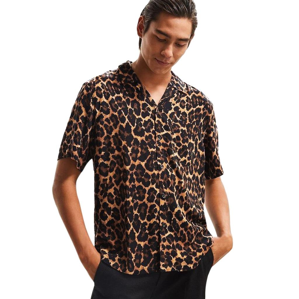 Mens Leopard Shirts Summer Fashion Casual Lapel Short Sleeve Button Down Shirt Top Comfort Blouse