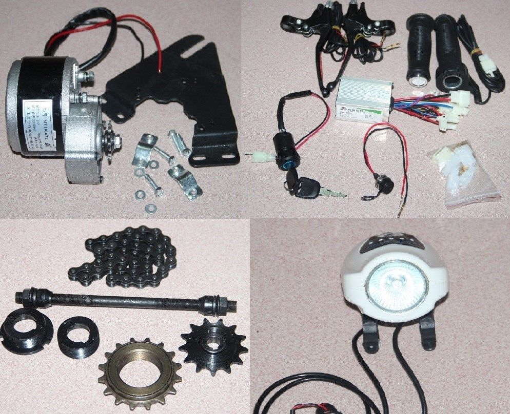 24V 250W Electric Bicycle Accessories Kits Geared Brush Motor Cycling Conversion