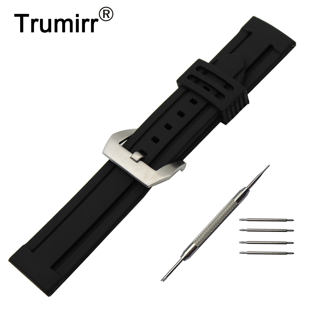 цена 22mm 24mm Silicone Rubber Watch Band + Tool for Breitling Watchband Stainless Steel Pre-v Buckle Strap Wrist Belt Bracelet Black