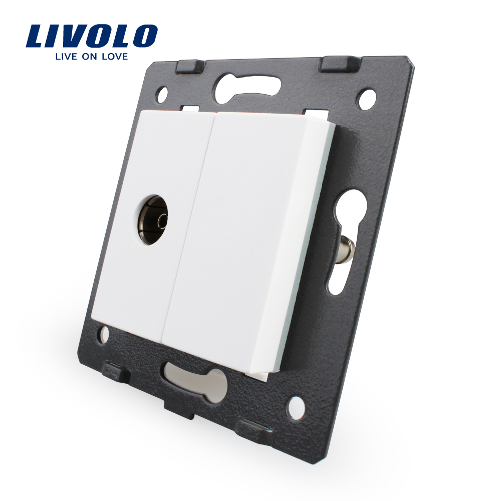 Free Shipping, Livolo White Plastic Materials,  EU  Standard, DIY Parts, Function Key For TV Socket,VL-C7-1V-11