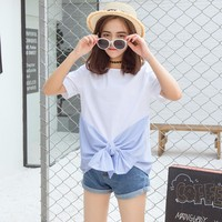 Soonyour 2017 Korean Version Of The Summer Fashion New Striped Stitching Short Sleeve Bow Casual