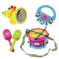 5 pcs Do Bebê Educacional Crianças Rolo Brinquedo de Tambor Instrumentos Musicais Banda Kit Crianças Crianças Bebê Dom Conjunto