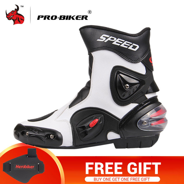 PRO-BIKER Motorcycle Boots PU  Leather Moto Shoes For Motorcycle Riding Racing Motocross Boots Motorbike Boots