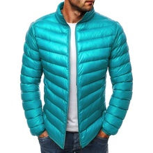ZOGAA Mens Parkas 2019 Spring Winter Jacket Casual Puffer Coat Solid Color Zipper Silm Fit Plus Size Man Warm