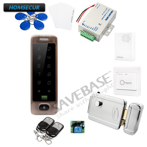 HOMSECUR IP67 Fully-Potted Waterproof ID Access Control System + Electric Lock With Keys + Backlight