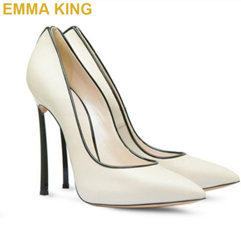 12CM Women Stiletto Pumps Party <font><b>Shoes</b></font> Beige/Pink/Yellow Soft PU Leather <font><b>Sexy</b></font> Ladies Thin High Heels Summer <font><b>Shoes</b></font> Big <font><b>Size</b></font> <font><b>11</b></font> image