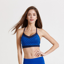 2017 Breathable Sports brassiere Bh Padded Fish Scales Print Sportswear Strap Women Push Up Yoga Running Fitness Bras