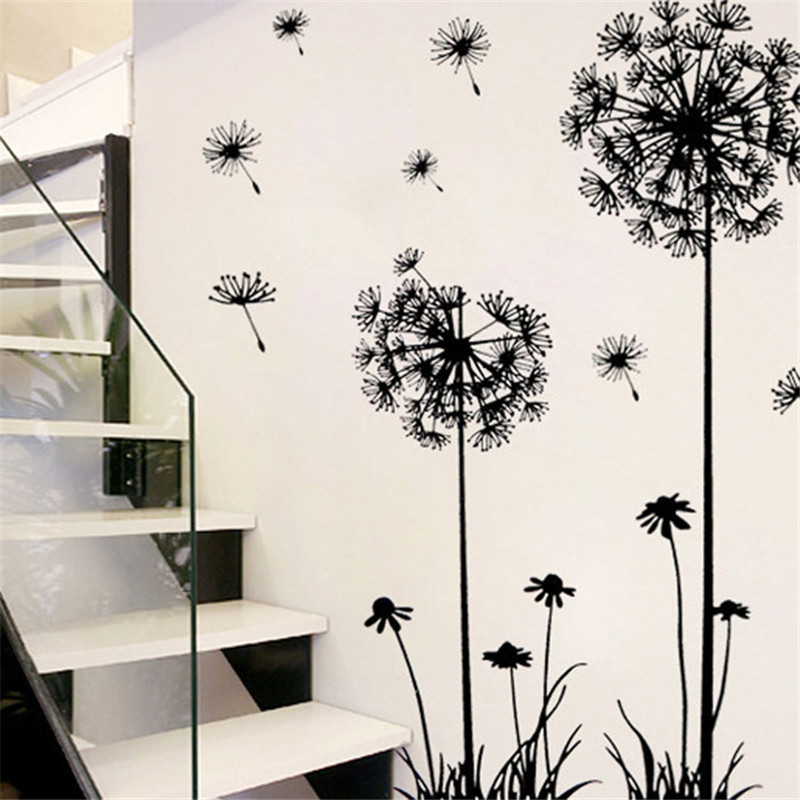 Black Dandelion Flower Wall Sticker Poster Large Wall Stickers Decals Home DIY Home Decor Kids Room Bedroom Wall Decoration