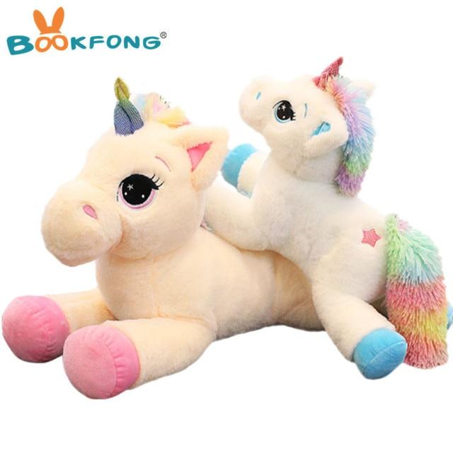 BOOKFONG 40-60 centímetros Unicorn Bichos de pelúcia brinquedo de Pelúcia Animais Unicórnio Cavalo de Alta Qualidade Presente Dos Desenhos Animados Para Crianças
