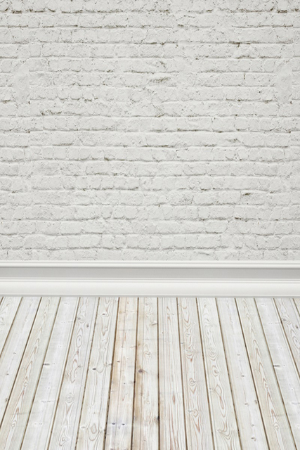 Laeacco White Brick Wall Wooden Floor Portrait Baby Photography Backgrounds Customized Photographic Backdrops For Photo Studio