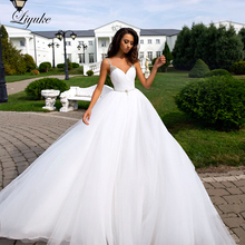 Liyuke Pleat Tulle Elegant Backless Design A-Line Wedding Dress With A Beading Sash Gown