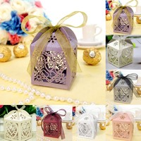 Lovely 10Pcs Set Love Heart Party Wedding Hollow Carriage Baby Shower Favors Gifts Candy Boxes Free