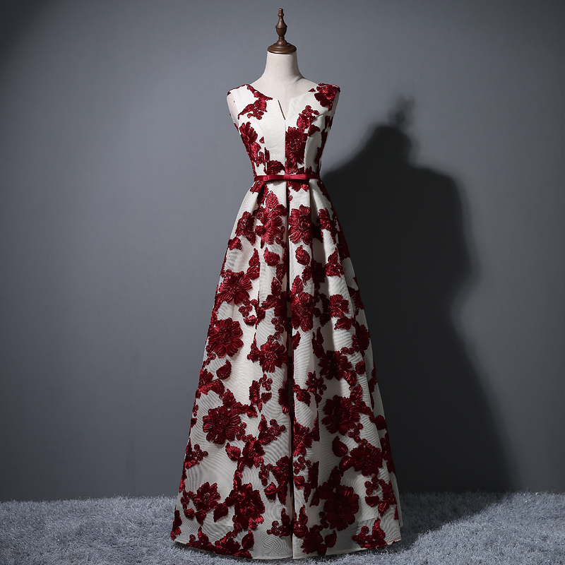Elegant O Neck A Line Floor Length Lace Evening Dress Cheap