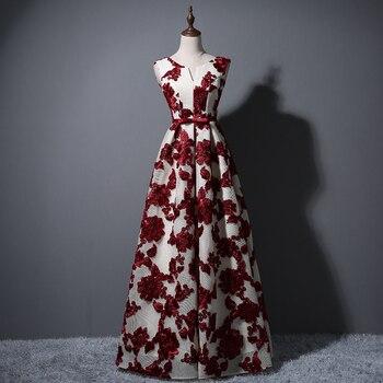 5f4b5b995 Vestido De noche largo De mujeres es una línea elegante cuello en V  apliques satinado Vestidos Fiesta bonito Vestidos Largos De Fiesta elegante