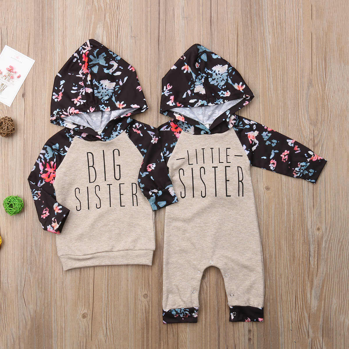 Little Sister Big Sister Match Clothes Kids Hooded Sweatshirt Baby Girl Romper and Hoodie Top