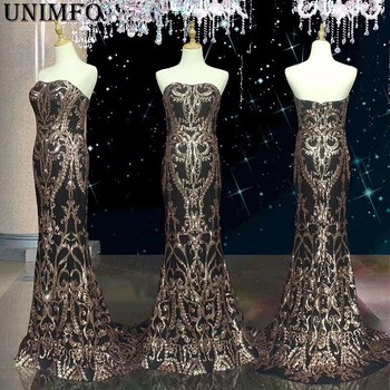 2019 Modest Gold Sequins Lace Prom Dresses  Evening Dress Party Gown Black Girl Couple Day Mermaid 2K19 Real Image