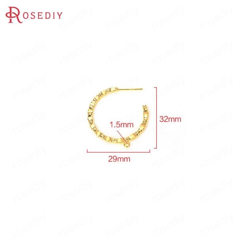Купить (35898)6 шт 29x32 мм отверстие 15 24k золото цвет латунные серьги