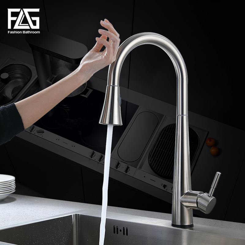FLG Kitchen Touch Control Faucet Free To Rotate Touch Faucet Sensor Water Mixer Pull Down Kitchen Mixer Stainless Steel Kitchen
