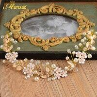 Elegant Handmade Crystal Pearl Hairband Gold Leaves Tiara Ladies Flower Hair Jewelry Women Wedding Engagement Chaplet