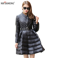 Pleated Wave Skirt Jacke Welle Rock Women Winter Down Jackets Warm Long Slim Coat Female Big Swing Ladies Outwear Dress