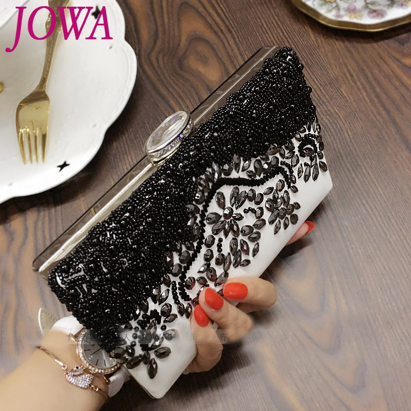 2017 New Design Casual Clutches Women's Fashion Evening Bags Black Beads Handbags Wedding Party Hard Packages Night Chains Purse