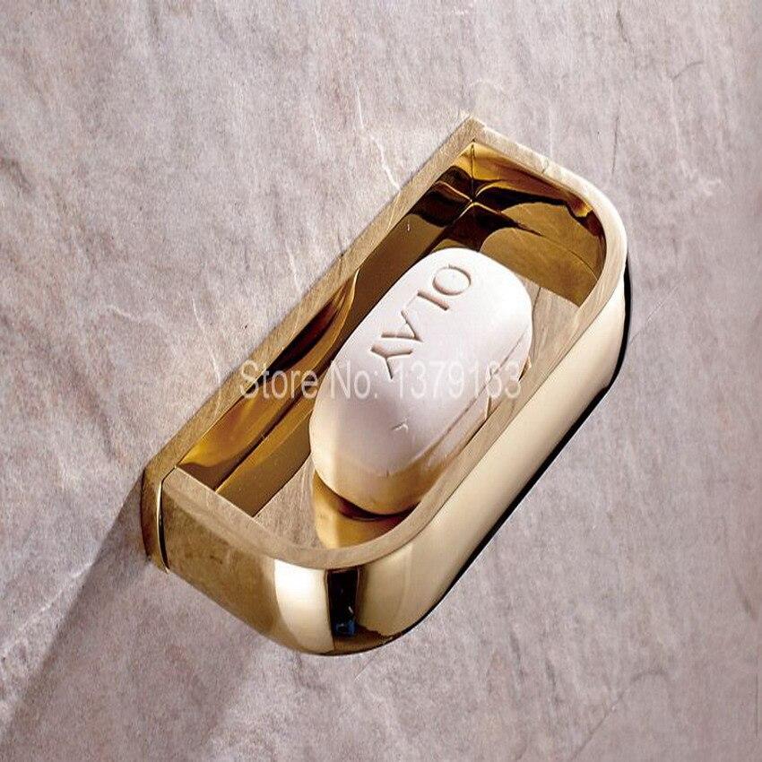 Luxo da Cor do Ouro de Bronze Fixado Na Parede Quadrado Acessório Do Banheiro Saboneteira Titular aba847