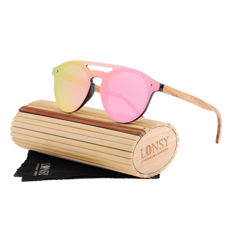 HINDFIELD Retro Wood Sunglasses Men Bamboo Sunglass Women Brand Design Sport Goggles Pink Mirror Sun Glasses Polarized LS5030